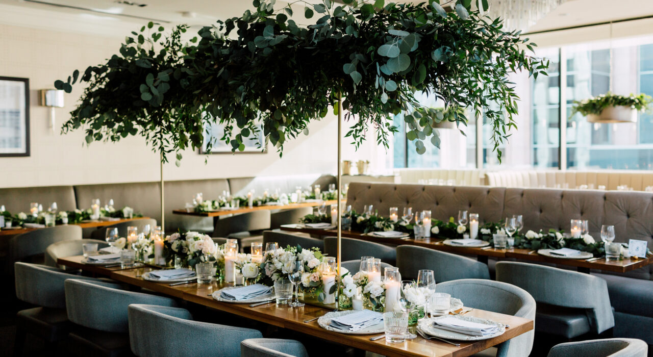 The Chase Toronto restaurant wedding greenery decor and white flowers